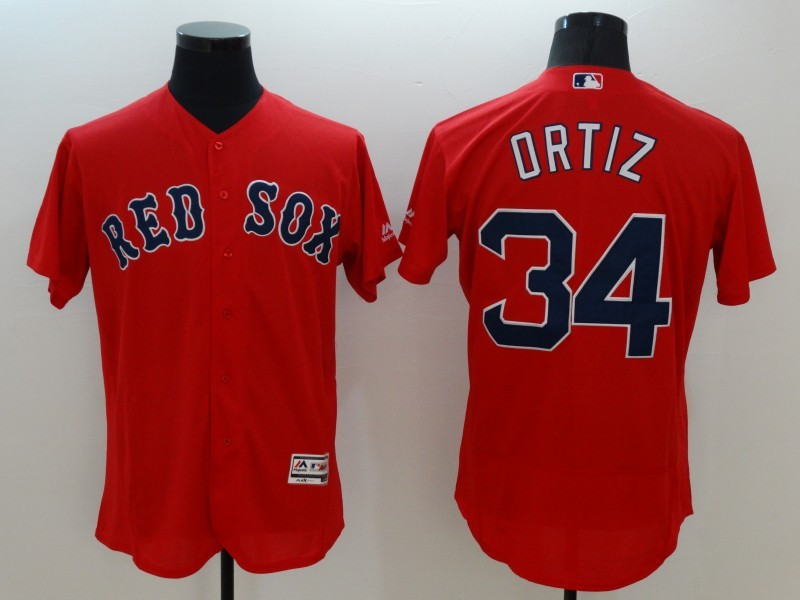 2016 MLB FLEXBASE Boston Red Sox 34 Ortiz red jerseys