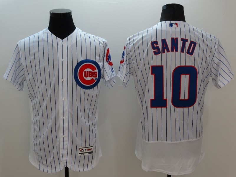 2016 MLB FLEXBASE Chicago Cubs 10 Santo white jerseys