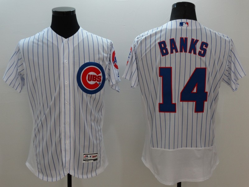 2016 MLB FLEXBASE Chicago Cubs 14 Banks white jerseys