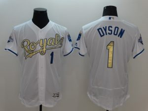 2016 MLB Kansas City Royals 1 Dyson White Platinum Elite Fashion Jerseys
