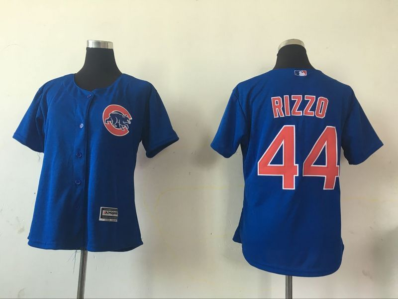 2016 MLB Womens Chicago Cubs 44 Anthony Rizzo Blue Jersey