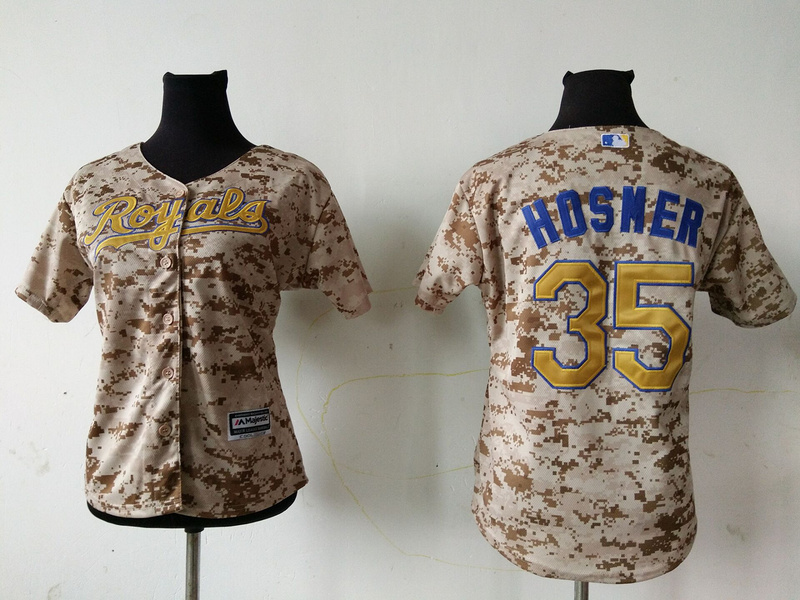 2016 MLB Womens Kansas City Royals 35 ERIC HOSMER Camo Jersey