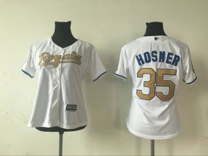 2016 MLB Womens Kansas City Royals 35 ERIC HOSMER WHITE GOLD Jersey