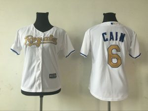 2016 MLB Womens Kansas City Royals 6 LORENZO CAIN WHITE GOLD Jersey