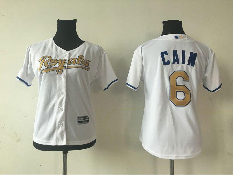 2016 MLB Womens Kansas City Royals 6 LORENZO CAIN WHITE GOLD Jersey