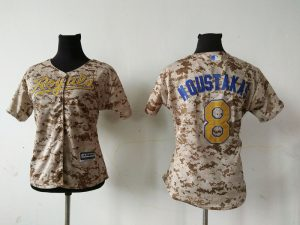2016 MLB Womens Kansas City Royals 8 MIKE MOUSTAKAS Camo Jersey