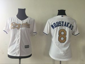 2016 MLB Womens Kansas City Royals 8 MIKE MOUSTAKAS WHITE GOLD Jersey