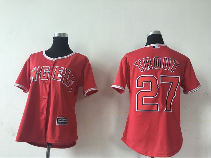 2016 MLB Womens Los Angeles Angels 27 Mike Trout Red Jersey