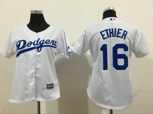 2016 MLB Womens Los Angeles Dodgers 16 Ethier White Jersey