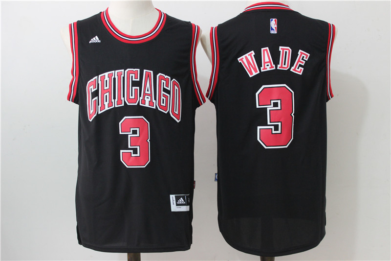 2016 NBA Chicago Bulls 3 Wade Black Jerseys