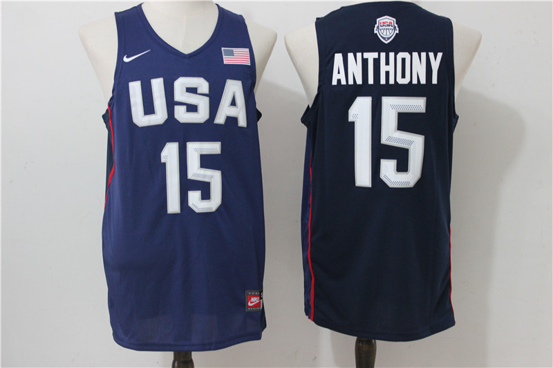 2016 NBA USA Dream Twelve Team 15 Anthony Blue Jerseys