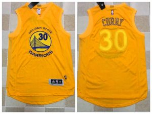 2017 NBA Golden State Warriors 30 Curry Yellow Jerseys