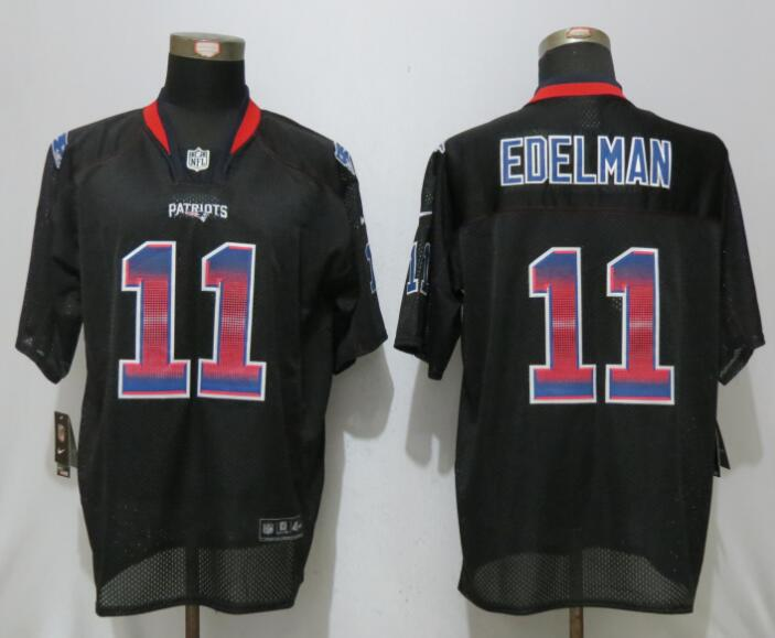 2017 New England Patriots 11 Edelman Strobe Lights Out Black Nike Elite Jerseys
