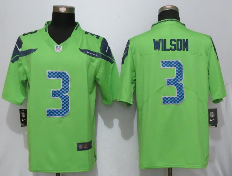 2017 Nike Seattle Seahawks 3 Wilson Green Color Rush Limited Jersey