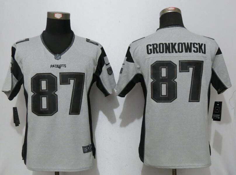 2017 Women New Nike New England Patriots 87 Gronkowski Nike Gridiron Gray II Elite Jersey