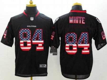 Atlanta Falcons 84 White Black Nike USA Flag Fashion Elite Jerseys