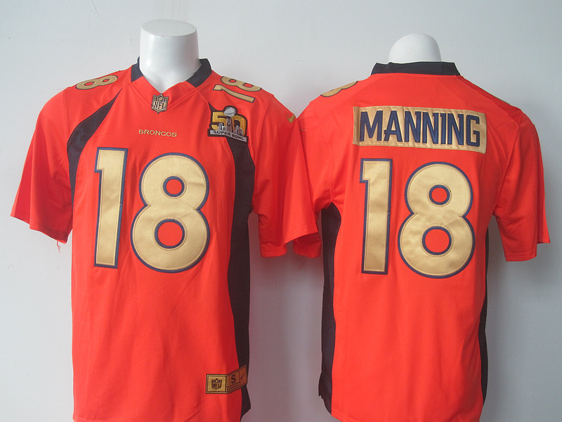 NFL Denver Broncos 18 Manning Orange 50th nike 2016 jerseys