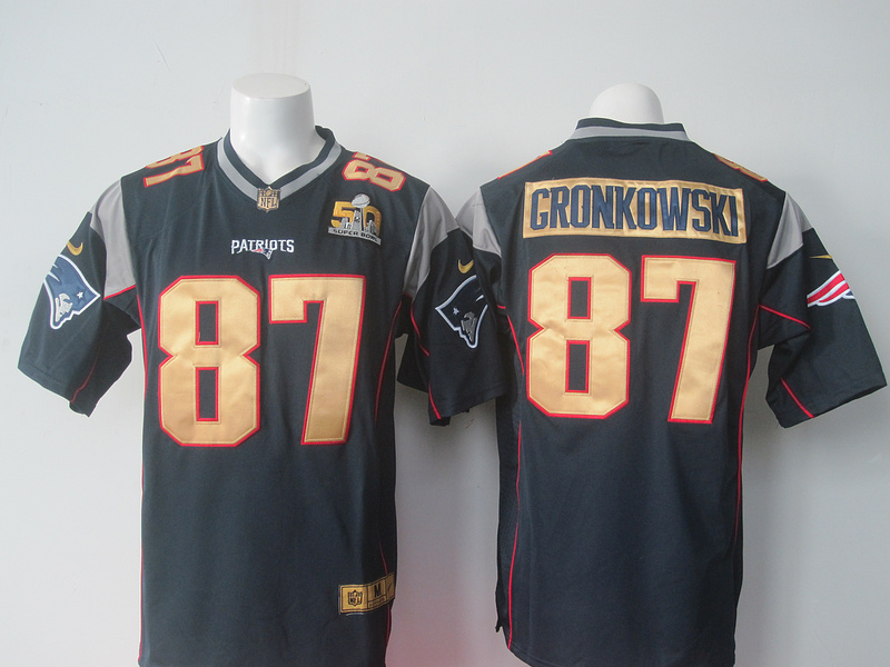 NFL New England Patriots 87 Gronkowski blue 50th Nike 2016 jerseys