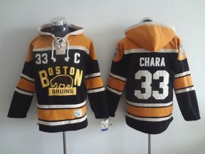 NHL Boston Bruins 33 Zdeno Chara Black Lace Up Pullover Hooded Sweatshirt