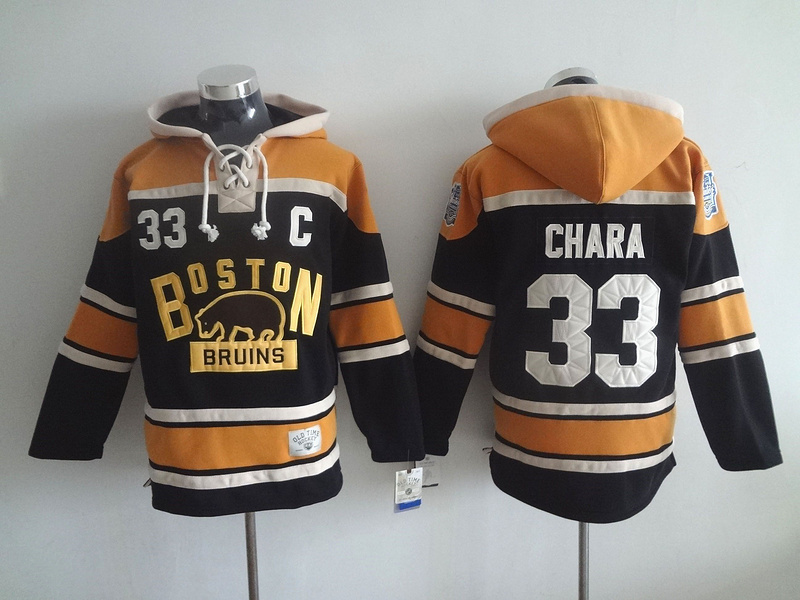 NHL Boston Bruins 33 Zdeno Chara Black Lace Up Pullover Hooded Sweatshirt