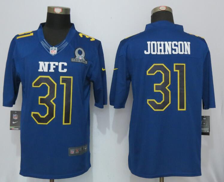New Nike Arizona Cardinals 31 Johnson Nike Navy 2017 Pro Bowl Limited Jersey