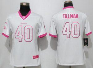 Womens 2017 Arizona Cardinals 40 Tillman Matthews White Pink Stitched New Nike Elite Rush Fashion Jersey