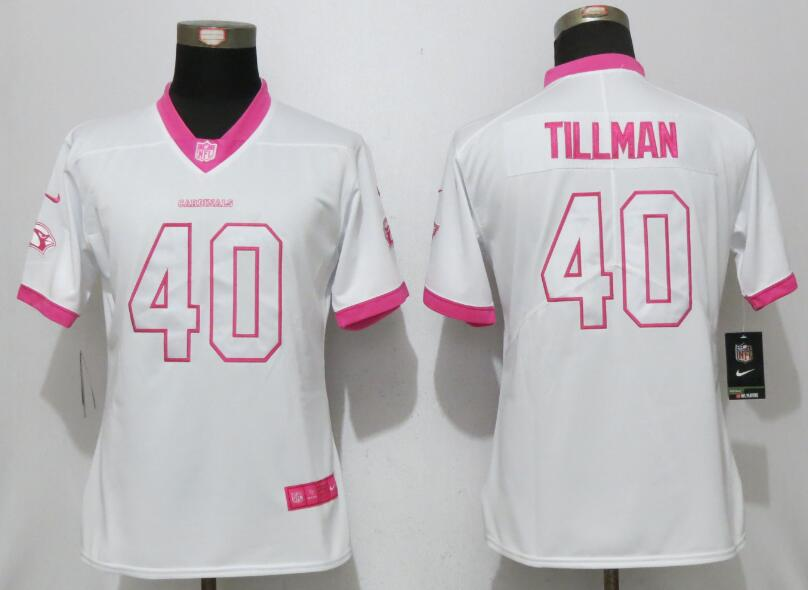 Womens 2017 Arizona Cardinals 40 Tillman Matthews White Pink Stitched New Nike Elite Rush Fashion Jersey