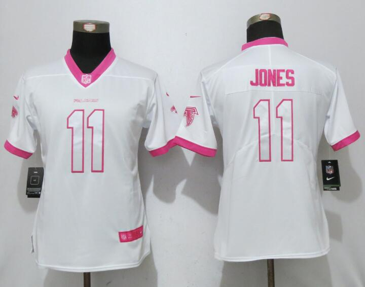 Womens 2017 Atlanta Falcons 11 Jones Matthews White Pink Stitched New Nike Elite Rush Fashion Jersey