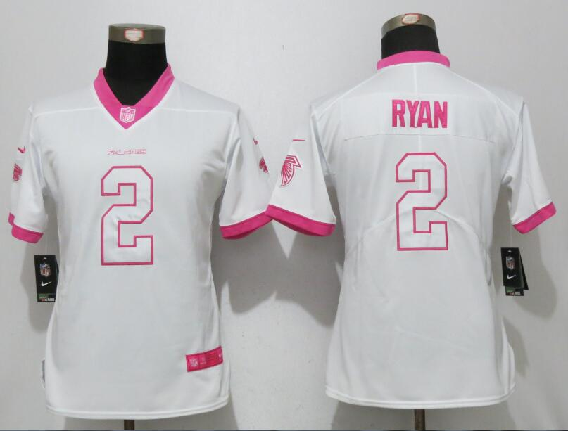 Womens 2017 Atlanta Falcons 2 Ryan Matthews White Pink Stitched New Nike Elite Rush Fashion Jersey