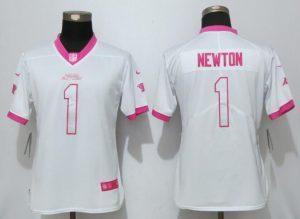 Womens 2017 Carolina Panthers 1 Newton Matthews White Pink Stitched New Nike Elite Rush Fashion Jersey
