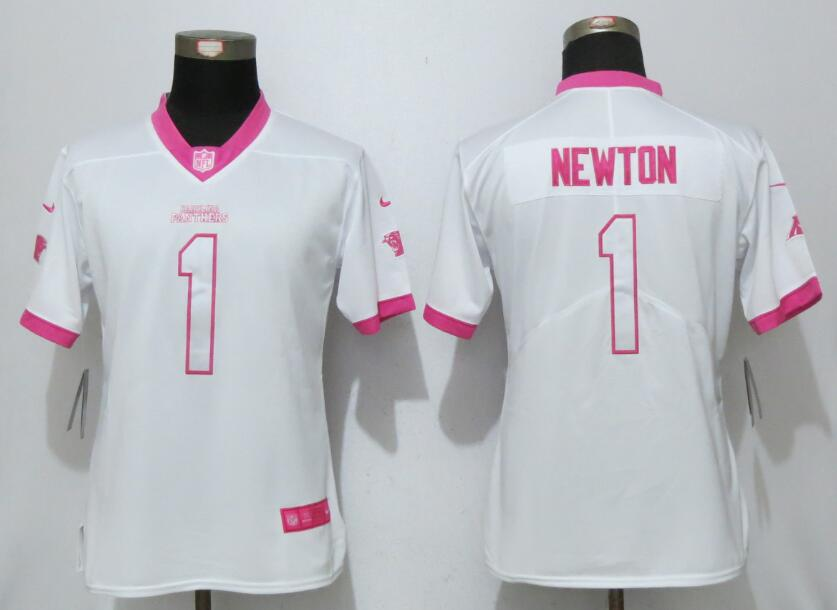 Womens 2017 Carolina Panthers 1 Newton Matthews White Pink Stitched New Nike Elite Rush Fashion Jersey