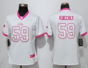 Womens 2017 Carolina Panthers 59 Kuechly Matthews White Pink Stitched New Nike Elite Rush Fashion Jersey