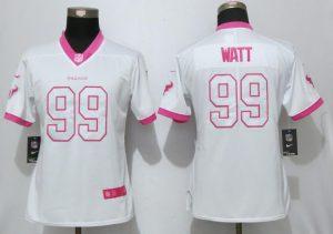 Womens 2017 Houston Texans Texans 99 Watt Matthews White Pink Stitched New Nike Elite Rush Fashion Jersey