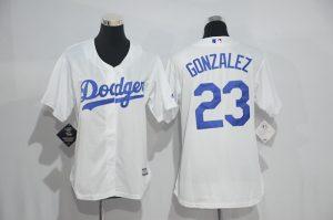 Womens 2017 MLB Los Angeles Dodgers 23 Gonzalez White Jerseys