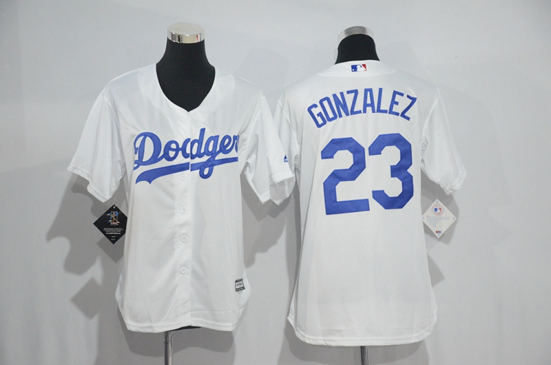 Womens 2017 MLB Los Angeles Dodgers 23 Gonzalez White Jerseys