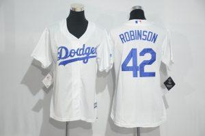 Womens 2017 MLB Los Angeles Dodgers 42 Robinson White Jerseys
