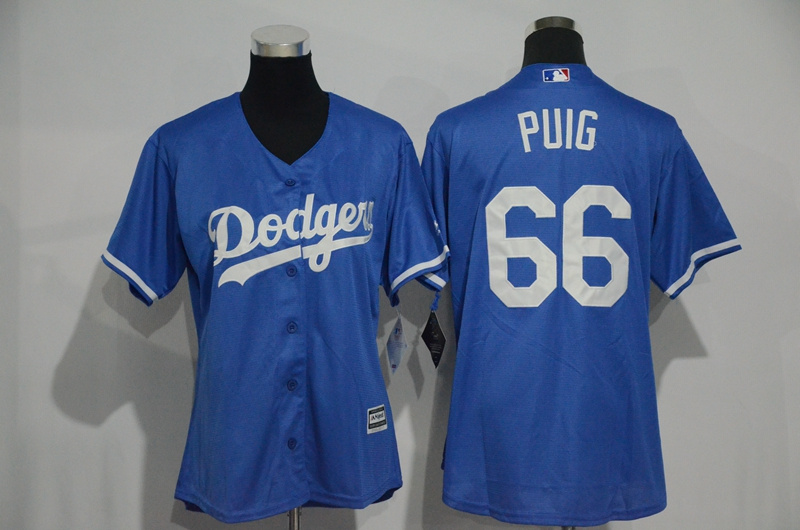 Womens 2017 MLB Los Angeles Dodgers 66 Puig Blue Jerseys