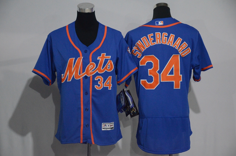 Womens 2017 MLB New York Mets 34 Syndergaard Blue Elite Jerseys