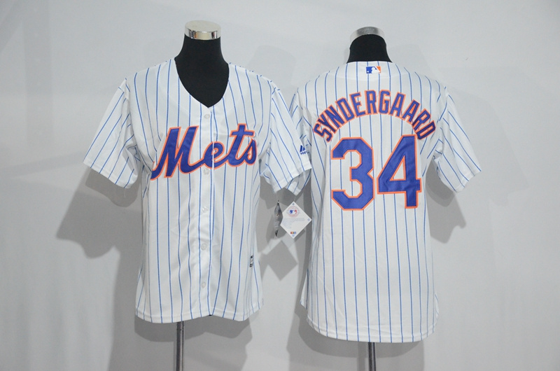 Womens 2017 MLB New York Mets 34 Syndergaard White Jerseys