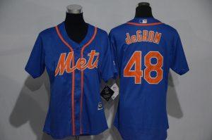 Womens 2017 MLB New York Mets 48 deGrom Blue Jerseys