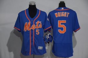 Womens 2017 MLB New York Mets 5 Wright Blue Elite Jerseys