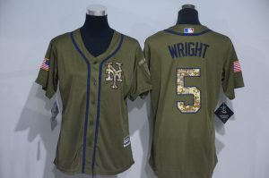 Womens 2017 MLB New York Mets 5 Wright Green Salute to Service Stitched Baseball Jersey