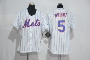 Womens 2017 MLB New York Mets 5 Wright White Jerseys