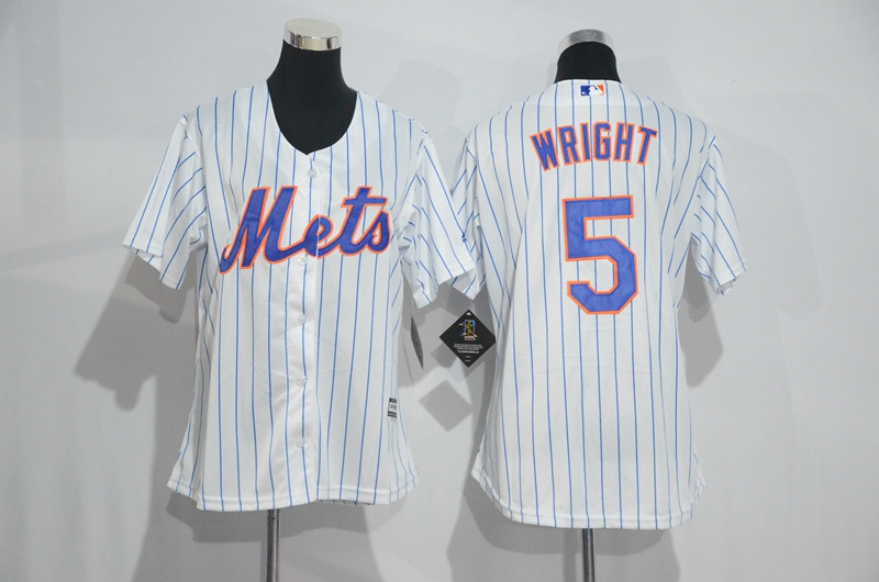 Womens 2017 MLB New York Mets 5 Wright White Jerseys