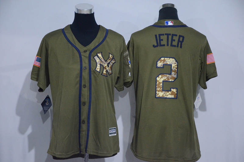 Womens 2017 MLB New York Yankees 2 Jeter Green Salute to Service Stitched Baseball Jersey