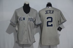 Womens 2017 MLB New York Yankees 2 Jeter Grey Jerseys