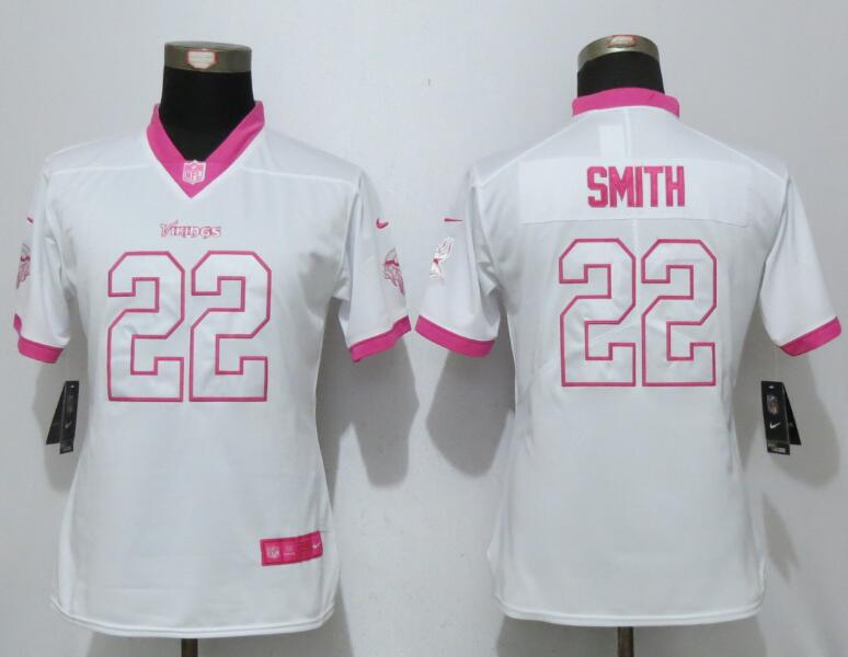 Womens 2017 Minnesota Vikings 22 Smith Matthews White Pink Stitched New Nike Elite Rush Fashion Jersey