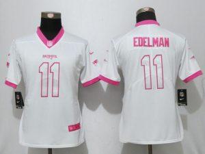 Womens 2017 New England Patriots 11 Edelman Matthews White Pink Stitched New Nike Elite Rush Fashion Jersey