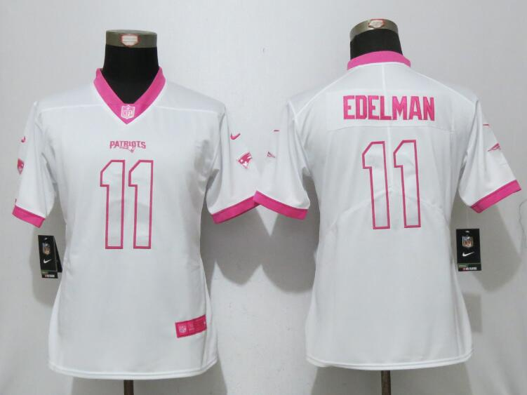 Womens 2017 New England Patriots 11 Edelman Matthews White Pink Stitched New Nike Elite Rush Fashion Jersey