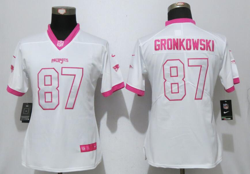Womens 2017 New England Patriots 87 Gronkowski Matthews White Pink Stitched New Nike Elite Rush Fashion Jersey